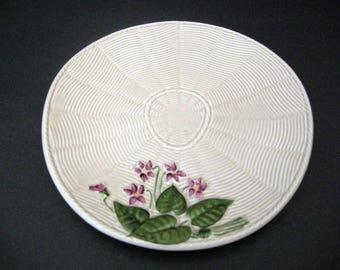 1940's Crown Devon Art Pottery Plate ~ Grey Basket Weave w/ Violets