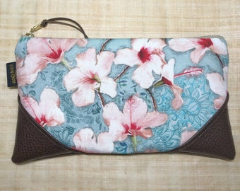 Large Painted Hibiscus Zipper Clutch / Zip Pouch with Zipper Pull or Leather Wristlet Strap