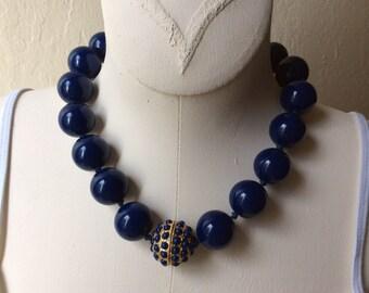 SALE!!!! Vintage Dark Blue Gumball Bead Necklace