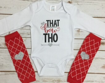 That Bow Tho Baby Girl Outfit - Girl Leg Warmers - Baby Girl Outfits - Heart Leg Warmers - Baby Gift - Bow Bodysuit - Baby Shower Gift
