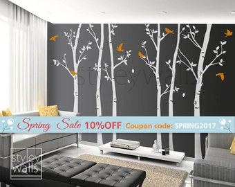 Tree Wall Decals Winter Trees Decal Birds Nature Forest Trees With Birds  Home Decor Set Of