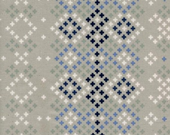 "Bluebird Fabric - Cotton + Steel ""Winter Sweater"" by Melody Miller. Navy Blue and Gray. Unbleached Quilting Cotton. 5043-1"