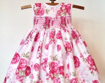 Paris Rose Dress for little girls, size 6 months Baby Dress, Hand Smocked Girls Dress, Handmade, Pink Floral Cotton Dress, Ready to Ship