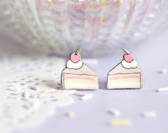 Cake Slice Earrings - Those Who Bake Collection - Cute Cake Studs