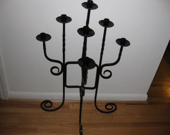 "WROUGHT IRON CANDELABRA-Large and Heavy Holds 7 Candles 30"" High"