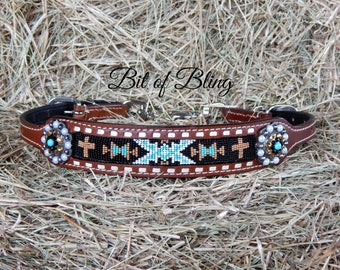 Navajo Cross Beaded Leather Wither Strap Horse Tack Rodeo Barrel Racing Pole Bending Trail Riding Western