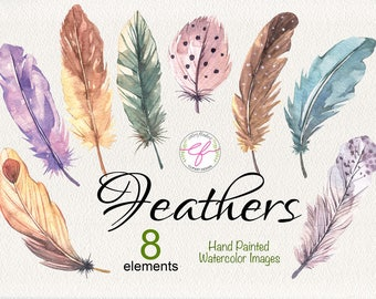 Feathers watercolor Clipart , Wedding invitation,Greeting card,scrapbook