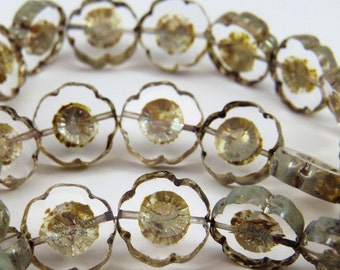 Clear Glass Hawaii Flower Beads Picasso Glaze 14MM Plumeria Czech Carved Table Cut Coin 6 Beads PTCHA022-B61