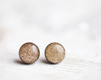 Gold Glitter Earrings stud, Beauty gift, Sparkling earrings, Small gift for her, Gold glitter studs, Holiday glitter post earrings