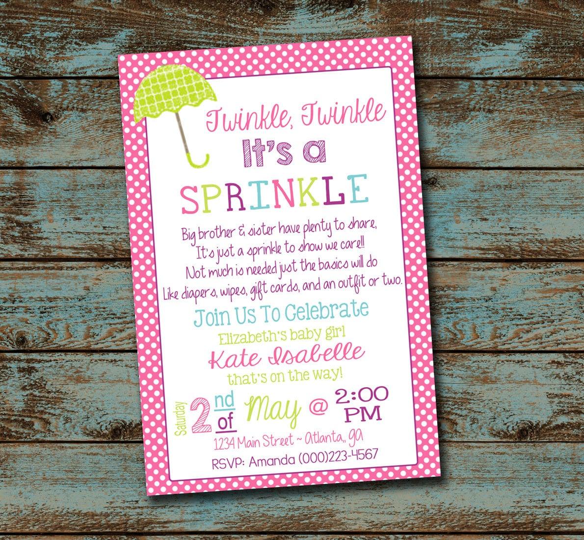Baby Sprinkle Invitation Twinkle Twinkle It\'s a Sprinkle