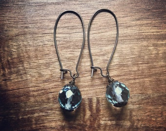 Aquamarine Earrings / Quartz Crystal Earrings / Aquamarine Jewelry / Glass Earrings