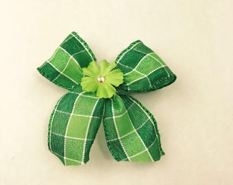 Mini St. Patrick's Day Plaid Bow on French Barrette with Shamrock Accent