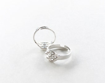 Silver Ring Blanks, Adjustable Ring, Adjustable Ring Blanks, Ring Blanks, Ring Base, Ring Findings, Silver Findings, Jewelry Findings - 4pc