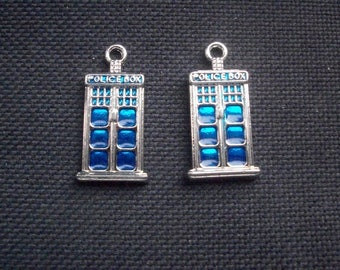 2 Police Box Charms 26mm
