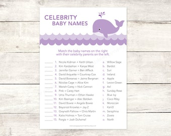 celebrity baby names matching game card printable whale waves baby girl shower purple lavender grey shower digital games - INSTANT DOWNLOAD