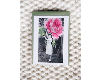 """Postcard - Reproduction vintage photography n.03 """"The collection of Rose"""" hand - embroidered cross stitch - June b Kitsch - JB K"""