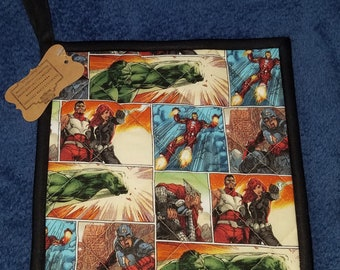 Marvel Avengers Comic Print Handmade Kitchen Pot Holder (Hot Pad) Infinity War Black Widow Iron Man Hulk Thor Falcon