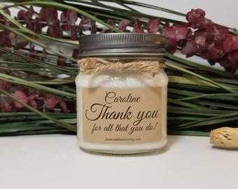 8oz Personalized Thank You Candle - Personalized Gifts - Secretary Gift - Coworker Gift - Realtor Gift - Administrative Gift - Soy Candles