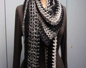 Crochet Filet Stitch Long Scarf Shawl Variegated Black and Gray
