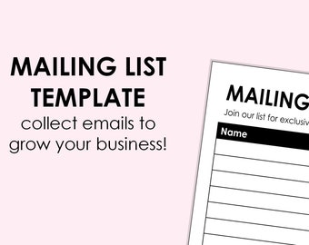 Mailing List - printable download A4 size (can be scaled to A5, or Letter)