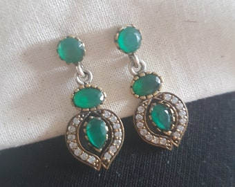 Vintage emerald drop earrings