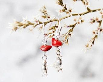 coral earrings sterling silver animal earrings bird jewelry 925 silver hook boho jewelry bohemian delicate birthstone jewelry Кю46