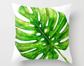 Monstera Leaf pillow with insert Cover - Tropical Leaf pillow with insert Cover - Modern Decor - Beach Decor - Tropical Decor - Aldari Home