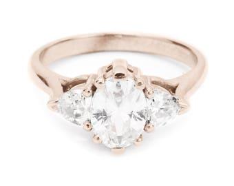 Unique 3 stone Oval Shaped Diamond & Hearts Shaped Diamond Engagement Ring, 14K / 18K gold, 1.6 carat Diamond Engagement Ring