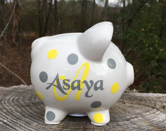 Personalized Small Piggy Bank, Ceramic White Piggy Bank, Custom Bank, Kids Piggy Bank, Baby Shower, Birthday Gift, Christmas In July