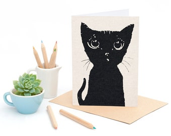 The Black Cat - Kitten Silhouette -  Greeting card