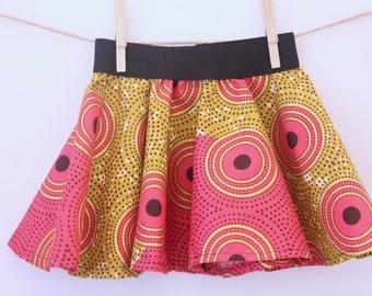 pink and gold skirt, african print skirt, girl's skirt, toddler skirt, african print, cute skirt, girls circle skirt, skirt with circles