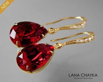 Red Crystal Gold Earrings Swarovski Siam Red Teardrop Earrings Bridal Earrings Bridesmaid Gift Red Rhinestone Dangle Earrings Prom Jewelry