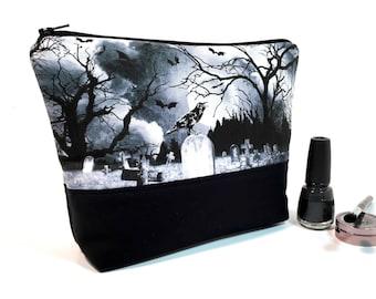 Gothic Makeup Bag, Large Makeup Bag, Cosmetic Bag Case, Makeup Storage, Goth Makeup Bag, Travel Bag, Edgy Makeup Bag, Raven Bag Toiletry Bag