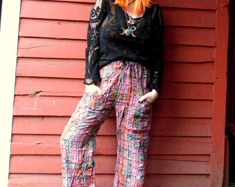 70s Guatemalan Pink Noiey Ikat Hippie Boho Ethnic Bell Bottom Drawstring Festival Wide Leg Lounge Pants 34