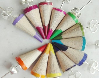 Wooden button earrings with pencils in various colors