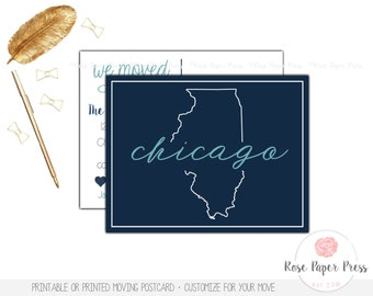 We Moved Postcard, State Outline | Printed or Printable Card | Moving Card, New Home | Moving Announcement | New Address Cards | Just Moved