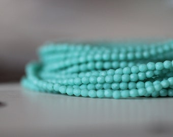 2mm, Matte Turquoise, Matte, Faceted, Round, Opaque, Tiny, Faceted, Beads, 50 pieces