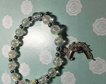 Handmade White & Silver Moon Charm Bracelet.