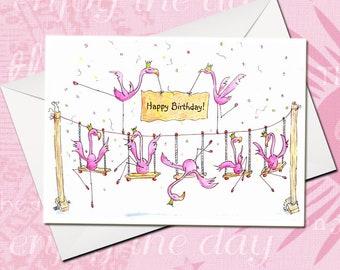 Happy Birthday, Birthday Card, Greeting Card, Flamingo Card