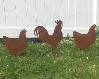 Rusted Metal Chickens and Rooster