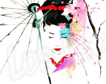 Japanese Geisha, Watercolor painting, art