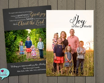 Christmas New Year's Photo Card, Religious, Christian, Scripture Multiple photos, PRINTABLE DIGITAL FILE - 5x7