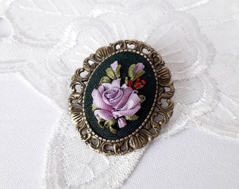 Lilac flower brooch pendant Embroidery ribbons vintage rose Floral embroidered jewelry Gift for sister colorful brooch lilac rose pattern