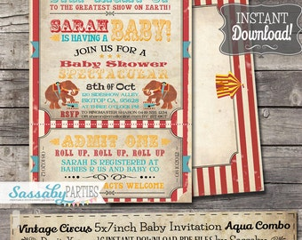 Vintage Circus Baby Shower Invitation - INSTANT DOWNLOAD - Aqua Combo Editable & Printable Carnival Ticket Invite by Sassaby Parties