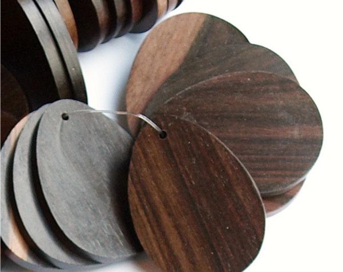 Wood Pendant, Flat Teardrop 30x40mm, Tiger Ebony - 2 Pieces (WDTDF-40TE)