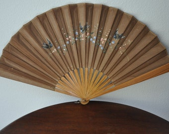 Sale Antique Ladies Folding fan, Brown Fabric Fan, Handpainted Fan, Hand Folding Fan, Victorian Accessory Ornate Decoration, Wall Home Decor