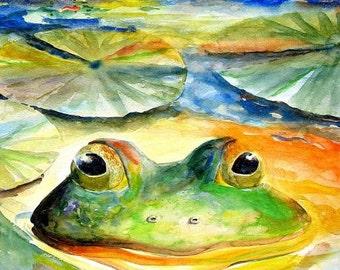 Green Frog and lily pad Picture Cottage decor best Watercolor Painting Lake Art print 8X10 or 11X14 by Fish artist Barry Singer