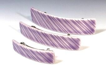 Purple Barrette, Medium Size Barrette, One Porcelain Barrette, Ceramic Barrette, French Barrette, Lavender Ceramic Hair Clip, Striped Clip
