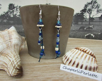 "Silver beads dangling earrings natural stones and glass ""Aïssata"" blue ivory"