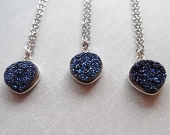 Dark Blue Druzy Necklace / Silver Blue Druzy Heart Necklace / Bridesmaid Gift / Blue Wedding / Blue Stone Necklace / Drusy Jewelry //GD18